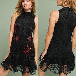 ANTHRO Midtown Lace Dress Black Red Embroidered 12